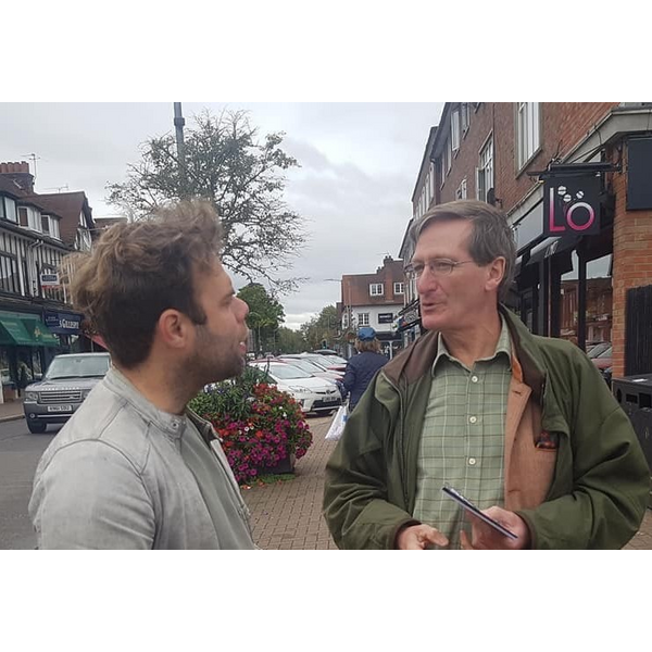 Dominic and Rob campaigning cut
